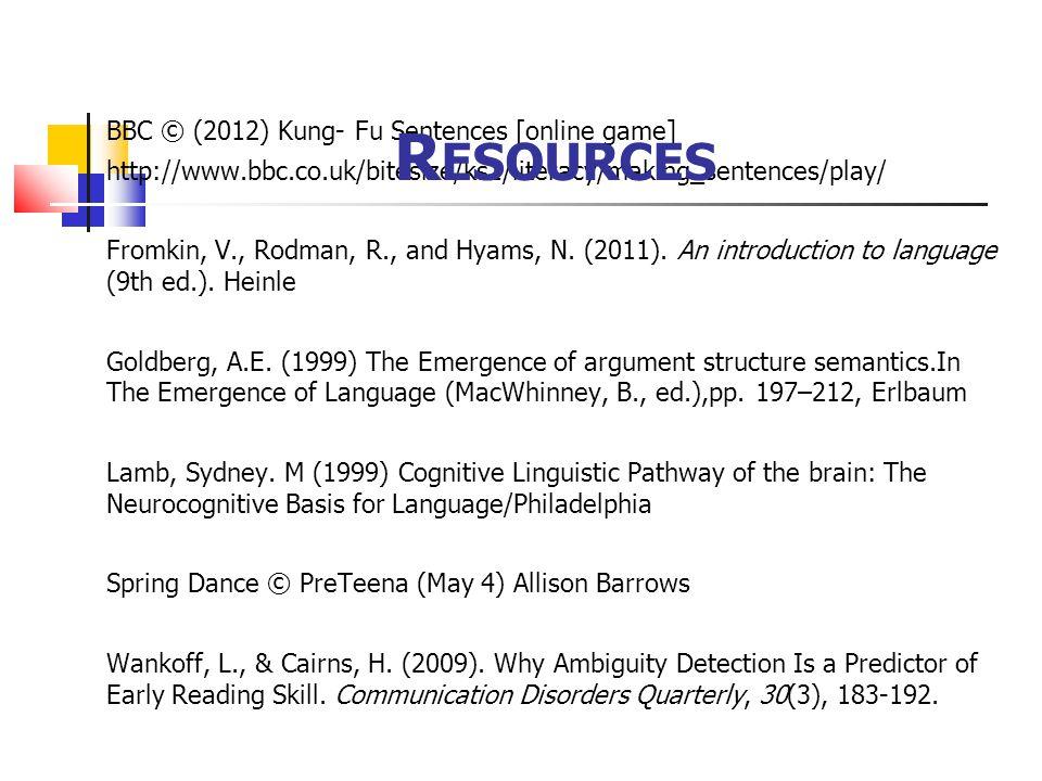 Resources BBC © (2012) Kung- Fu Sentences [online game]
